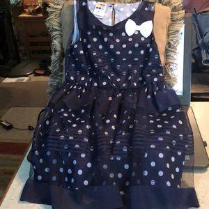 Navy blue white polka dot dress 3t